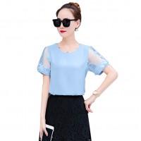 Women Fashion Trend Stitching Small Round Neck Shirt WC-175BL