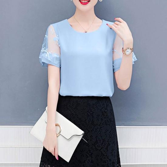 Women Fashion Trend Stitching Small Round Neck Shirt WC-175BL image