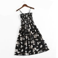 Women Floral Fashion Summer Small High Waist Strap Dress WC-177BK