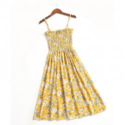 Women Floral Off the Shoulder Yellow Straps Dress WC-177Y