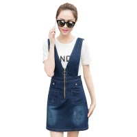 Spring And Summer Mid Length Two Piece Straps Denim Dress For Women WC-178BL