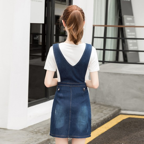 Spring Mid Length Two Straps Denim Dress For Women WC-178BL image