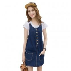 Women Sundress A-line Loose Vintage Denim Jumper Dress Skirt WC-179BL