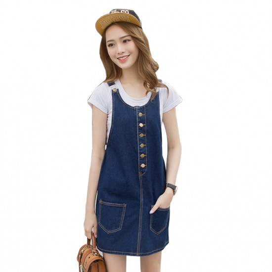 Women Sundress A-line Loose Vintage Denim Jumper Dress Skirt WC-179BL image