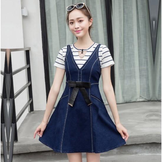 Stylish and Attractive Denim Bow Slim Sling Ladies Midi Dress WC-180 image