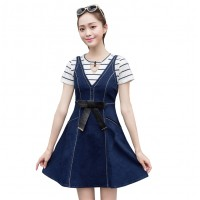 Stylish and Attractive Denim Bow Slim Sling Ladies Midi Dress WC-180