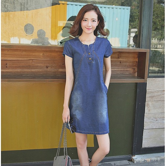 Summer Lady short Sleeve Slim Casual Jeans Women's Denim Dress WC-181 image