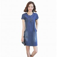 Summer Lady short Sleeve Slim Casual Jeans Women's Denim Dress WC-181
