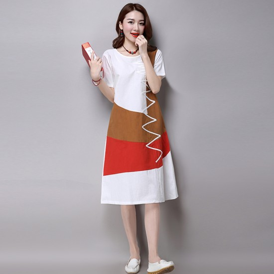 Multi Color New Satin Summer Women Midi Dress WC-182W image