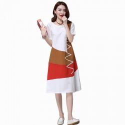 Multi Color New Satin Summer Women Midi Dress WC-182W
