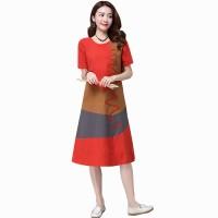 Multi Color New Satin Summer Women Midi Dress WC-182OR
