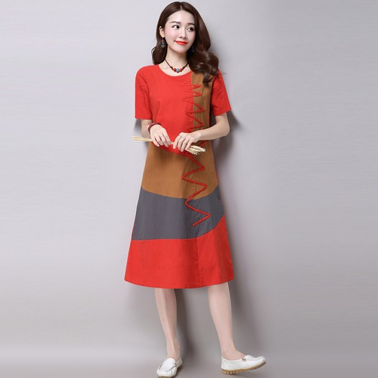 Multi Color New Satin Summer Women Midi Dress WC-182OR image
