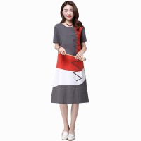 Multi Color New Satin Summer Women Midi Dress WC-182GY