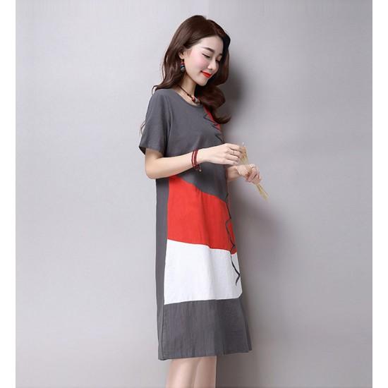 Multi Color New Satin Summer Women Midi Dress WC-182GY image