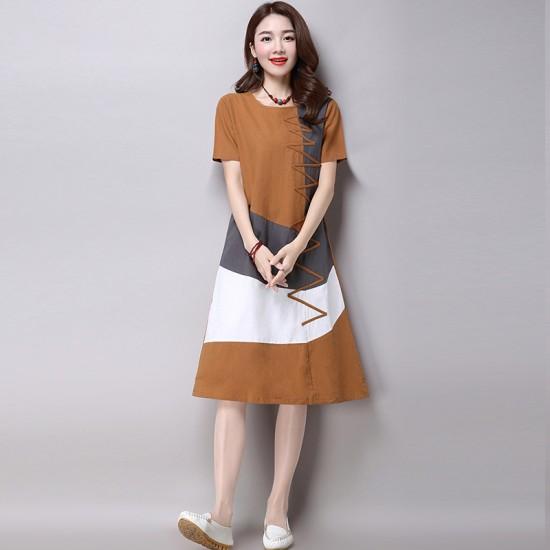 Multi Color New Satin Summer Women Midi Dress WC-182BR image