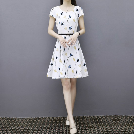 Summer chiffon Flower Pattern Dress for women WC-186 image