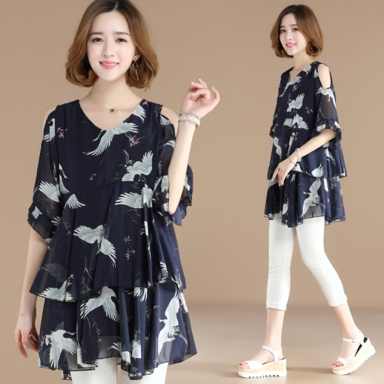 Chiffon Sleeves Strapless Loose Women Dress WC-187 | Image