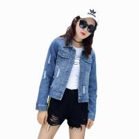 Women Fashion Distressed Blue Slim Denim Casual Jacket WJ-25