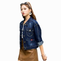 Button Closure Casual Rivet Stylish Denim Jacket WJ-26
