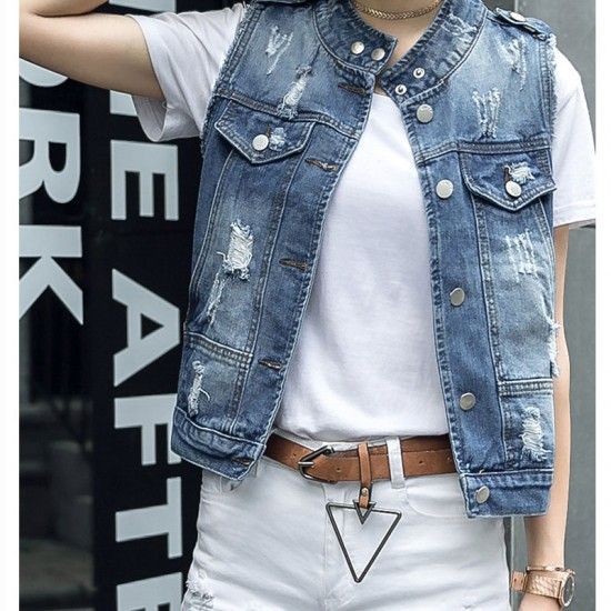 New Fashion Jean Denim Vest Blue Sleeveless Women's Jacket WJ-27 image