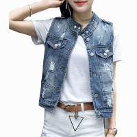 New Fashion Jean Denim Vest Blue Sleeveless Women's Jacket WJ-27
