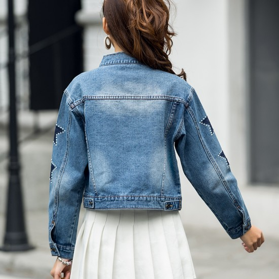 Embroider Women's Denim Short Paragraph Latest Jacket WJ-28