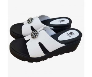 Women High Heel Summer White Flip Flop Casual Wear Slipper S-117W