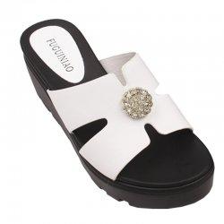 Women High Heel Summer White Flip Flop Casual Wear Slipper S-117W