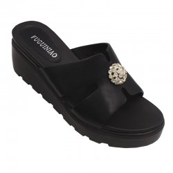 Women High Heel Summer Black Flip Flop Casual Wear Slipper S-117BK
