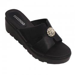 Women High Heel Summer Black Flip Flop Casual Wear Slipper S-117BK