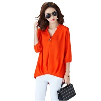 Women Polyester V Neck Plain Sleeves European Casual Shirt WC-173OR
