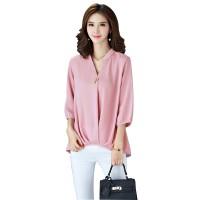 Women Polyester V Neck Plain Sleeves European Casual Shirt WC-173PK