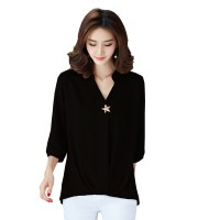Women Polyester V Neck Plain Sleeves European Casual Shirt WC-173BK