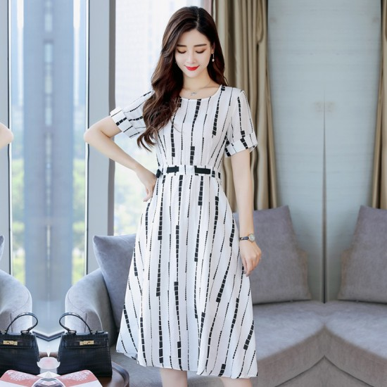 Summer Short Sleeved White Printed Strips High Waist Dress WC-189W image