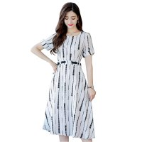 Summer Short Sleeved White Printed Strips High Waist Dress WC-189W