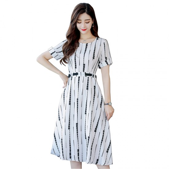 6b388f2a0 Summer Short Sleeved White Printed Strips High Waist Dress WC-189W image