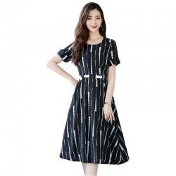 Summer Short Sleeved White Printed Strips High Waist Dress WC-189BK
