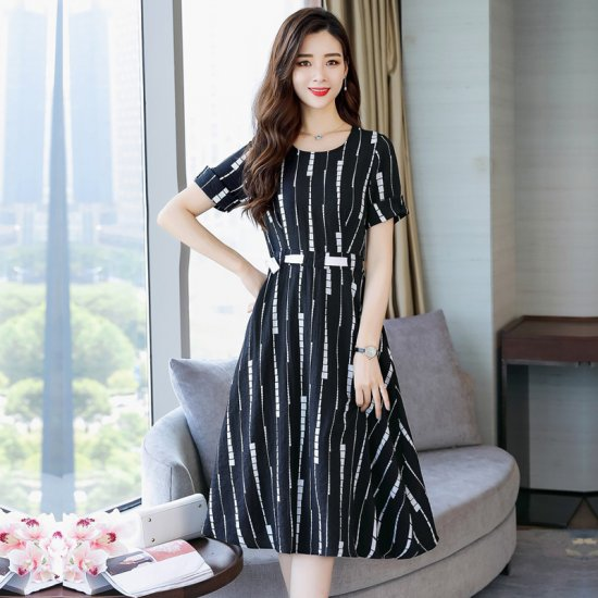 Summer Short Sleeved White Printed Strips High Waist Dress WC-189BK