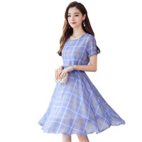 Chiffon Slim Tie Belt Waist Word Mid-Rise Short Sleeves Casual Dress WC-190