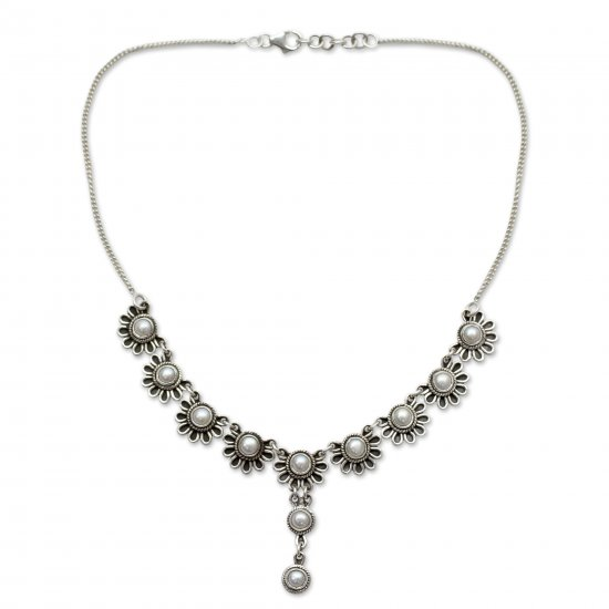 Pristine Blossom Pearl and Sterling Silver Y Necklace Floral Jewelry ANDN-65