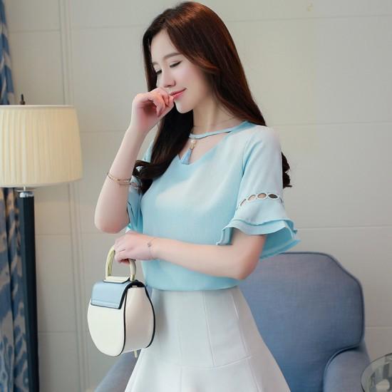 Summer Horn Short Sleeved Chiffon Loose Shirt For Women WC-191BL image