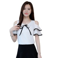 Summer New Off Shoulder Ruffle Tie Bow Short Sleeve ladies Top WC-192W