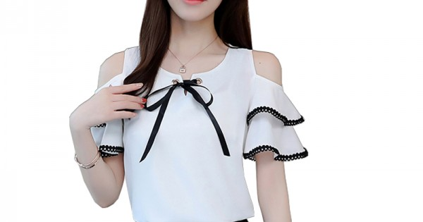 5e9a3001f309a7 Buy Summer New Off Shoulder Ruffle Tie Bow Short Sleeve ladies Top WC-192W