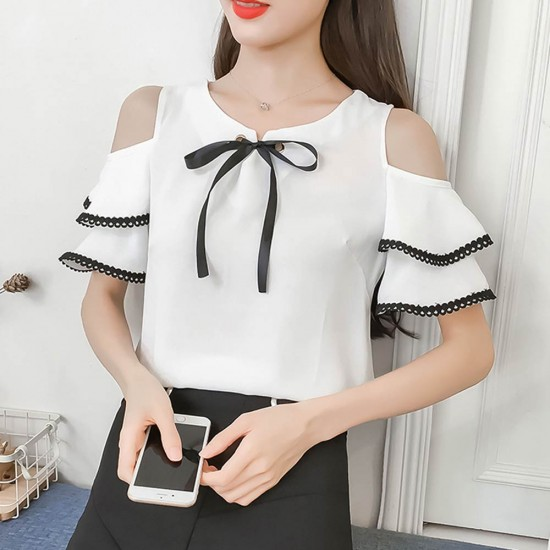 Summer New Off Shoulder Ruffle Tie Bow Short Sleeve ladies Top WC-192W image