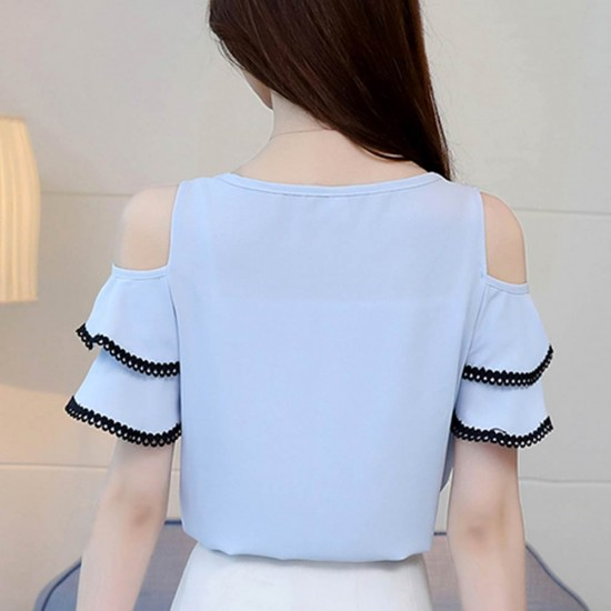 Summer New Off Shoulder Ruffle Tie Bow Short Sleeve ladies Top WC-192BL image