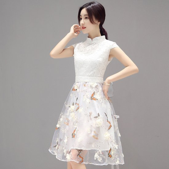 Fancy Collar Neck Flower Band Hollow Butterfly Printed Women Dress WC-193