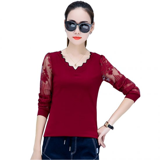 Casual Long Sleeve Crew Neck Women Blouse WC-194RD image