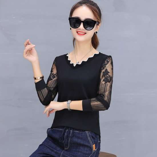 Casual Long Sleeve Crew Neck Women Blouse WC-194BK image