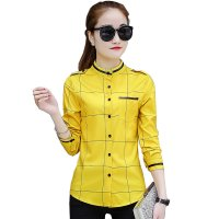 Yellow Striped Plaid Long Sleeve Bottoming Tide Shirt WC-196Y