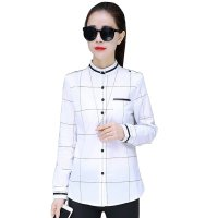 White Striped Plaid Long Sleeve Bottoming Tide Shirt WC-196W